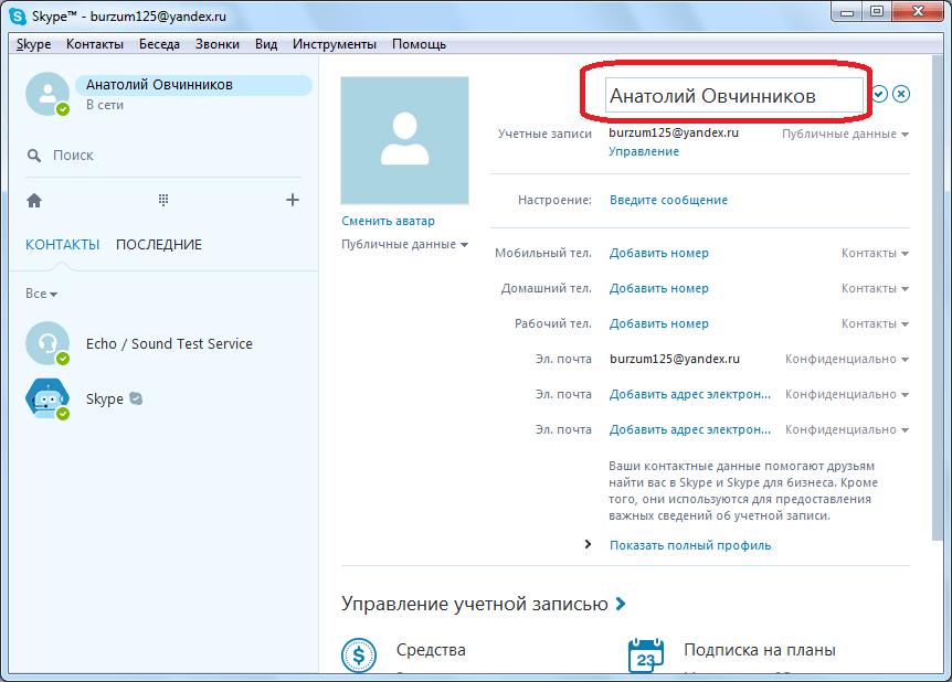 Имя в Skype