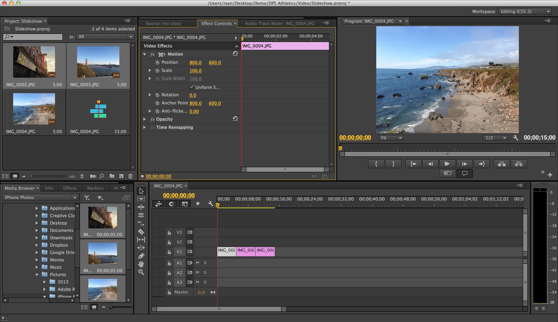 Интерфейс Adobe Premier