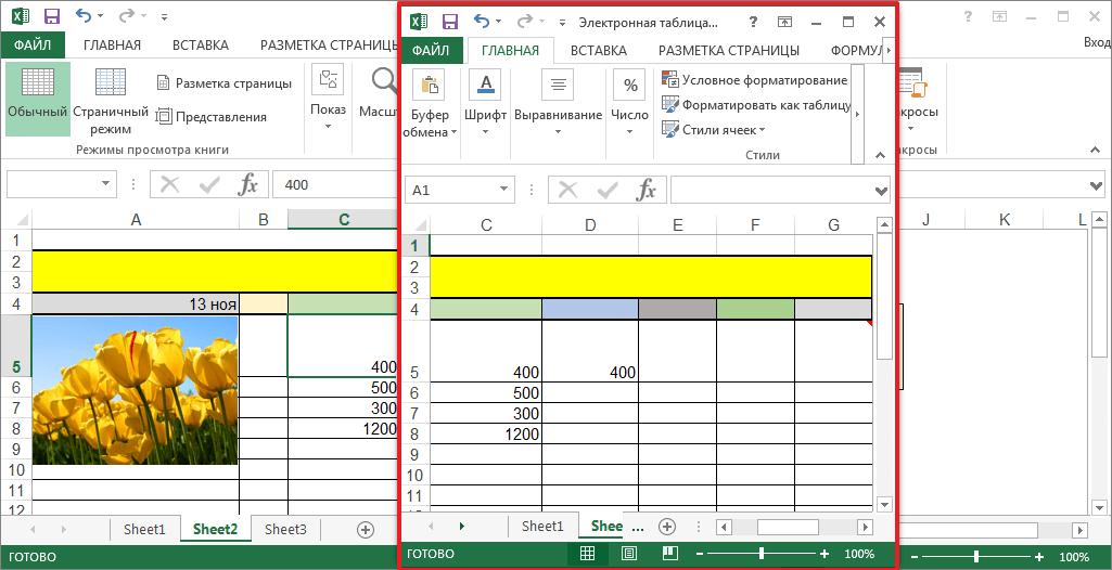 Окна в программе Microsoft Excel
