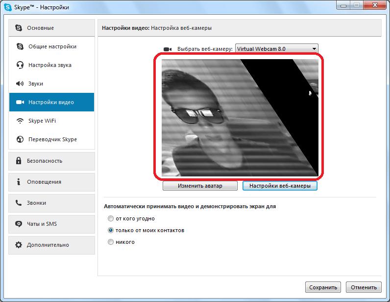 Отображение видео в Skype