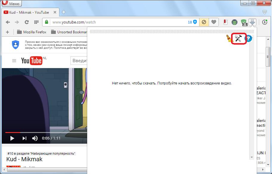 Переход к настройкам расширения Flash Video Downloader для Opera