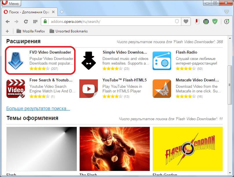 Переход на страницу расширения Flash Video Downloader для Opera