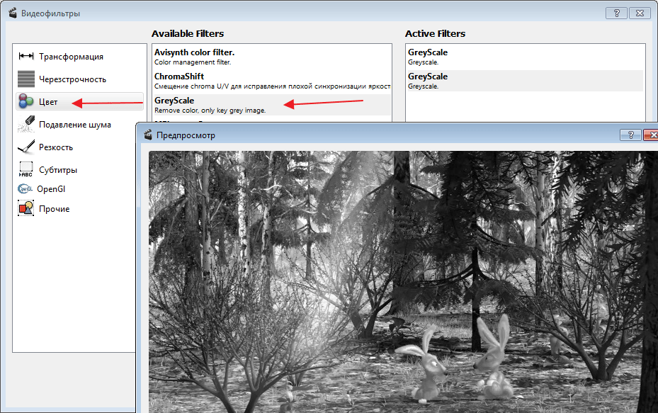 Применение фильтра Grey Scale в программе Avidemux