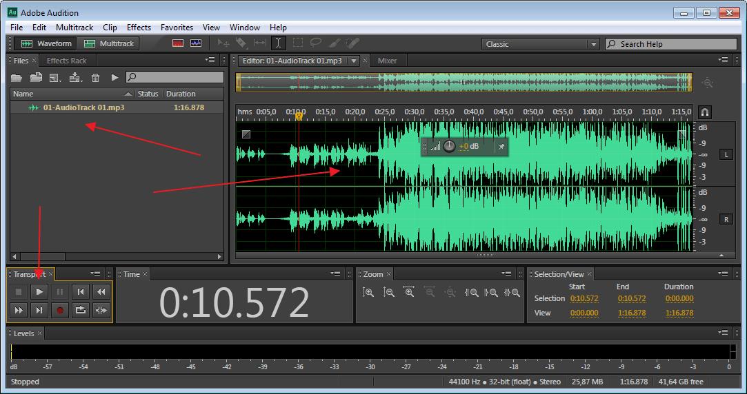 Прослушать звуковую дорожку в программе Adobe Audition