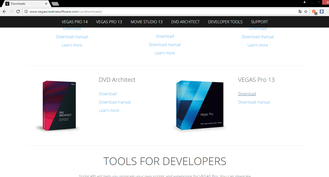 Сайт Sony Vegas