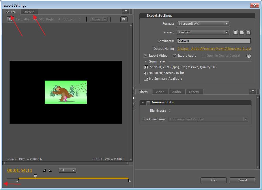 Sourse и Output в программе Adobe Premier Pro