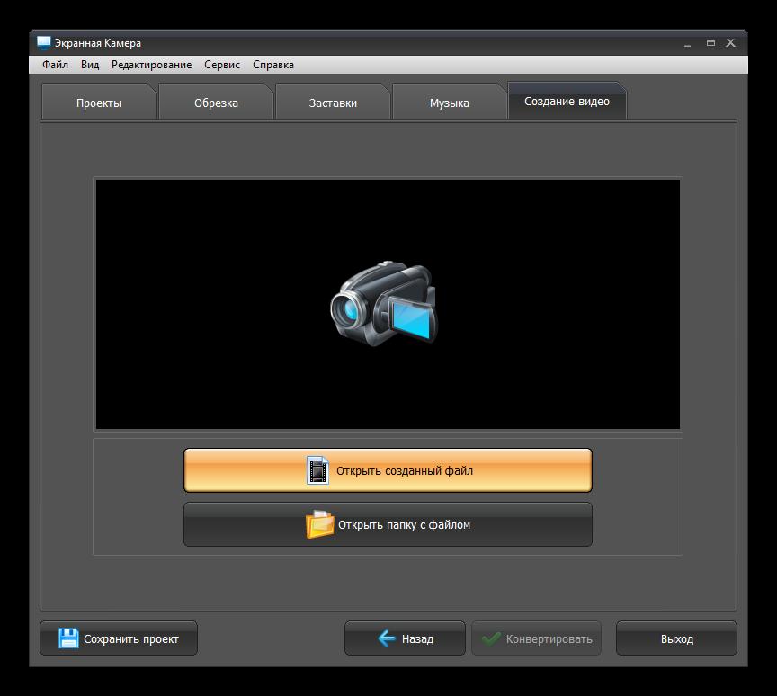 Создание видео завершено в программе Экранная камера