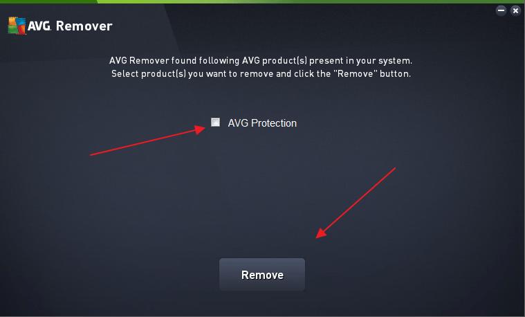 Удаление найденных продуктов AVG при помощи утилиты AVG Remover