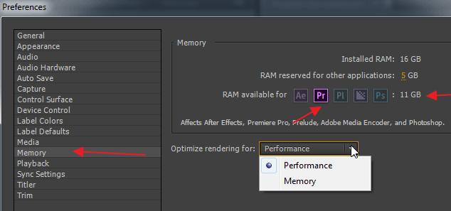 Установки памяти в программе Adobe Premier Pro