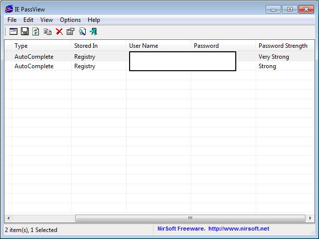 Утилита IE PassView в программе Internet Explorer