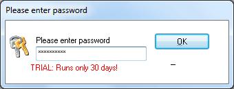 Ввод пароля в программе EXE Password  для  открытия браузера Opera