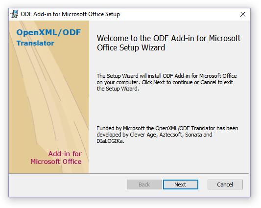 окно установки ODF Add-in for Microsoft Office Setup