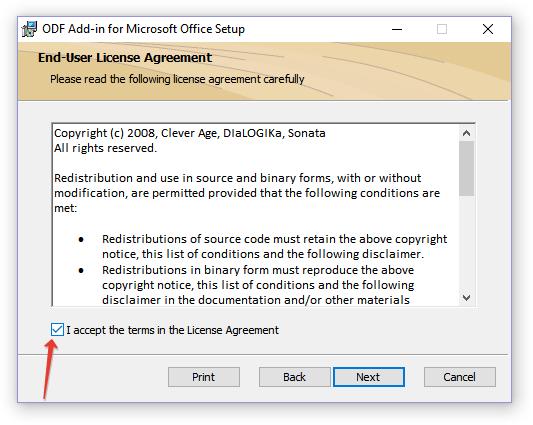 принять соглашение в ODF Add-in for Microsoft Office Setup