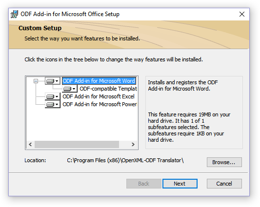 выбор места установки ODF Add-in for Microsoft Office Setup