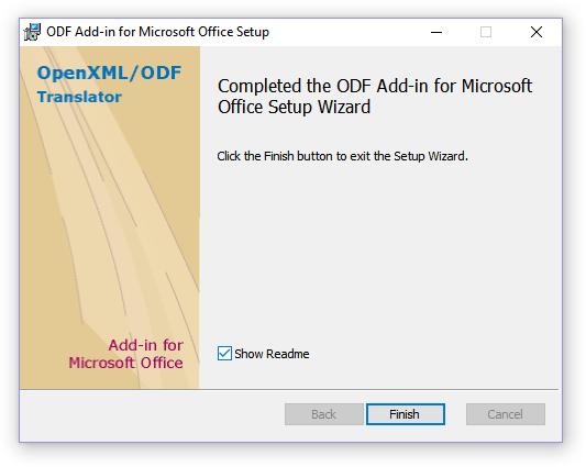 завершение установки ODF Add-in for Microsoft Office Setup