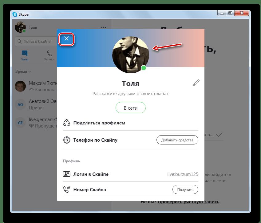 Аватар сменен на выбранное изображение в программе Skype 8