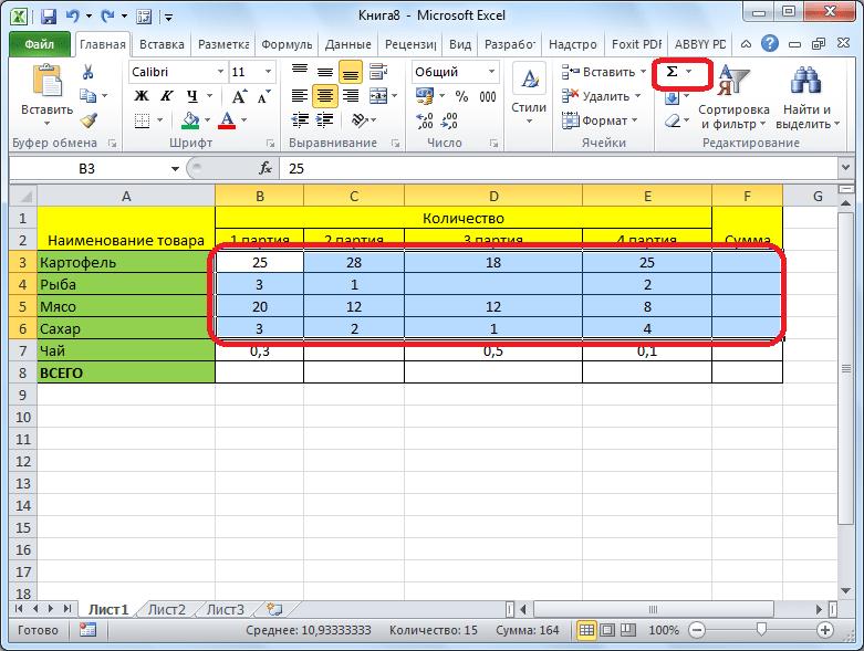 Автосумма для нескольких строк и столбцов Microsoft Excel