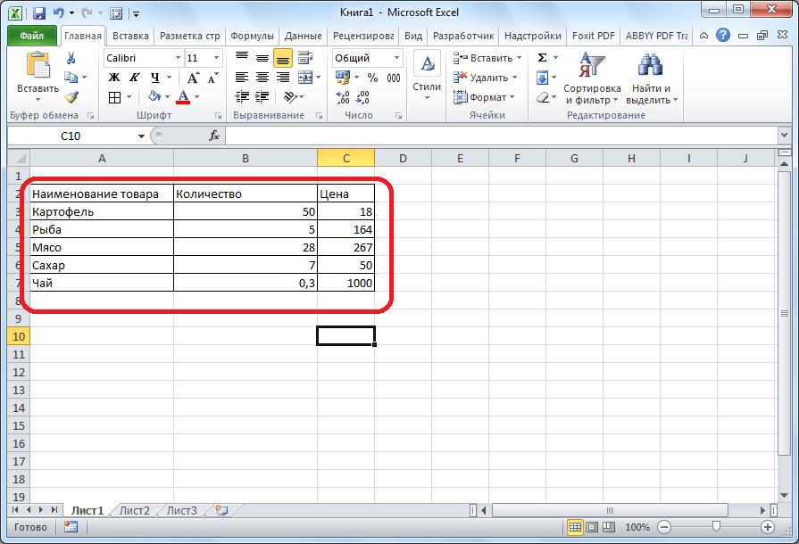 Диапазон с табличными данными в Microsoft Excel