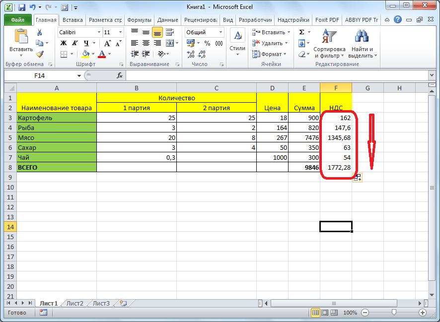 Формула с процентом в приложении Microsoft Excel