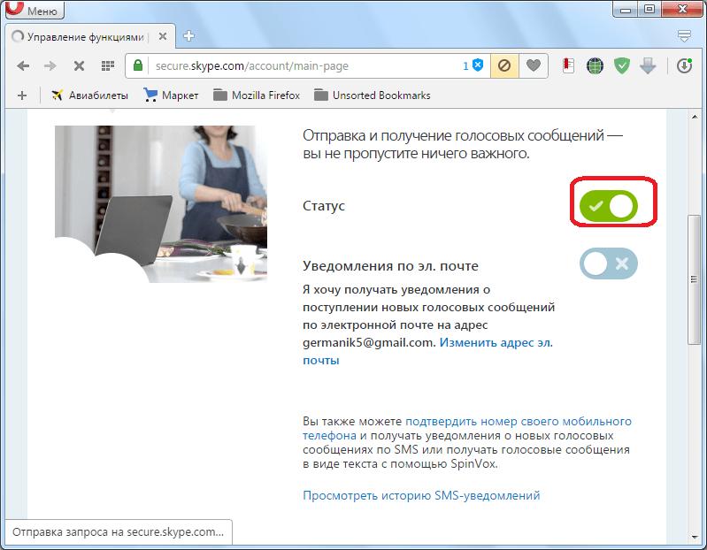 Голосовая почта в Skype активирована