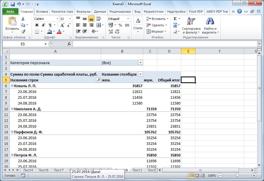 Изменение вида сводной таблицы в Microsoft Excel
