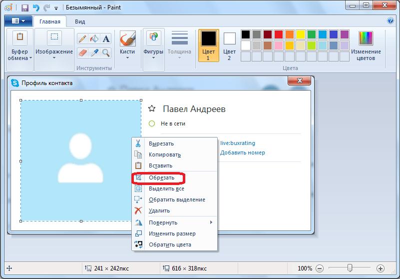 Обрезаем аватар Skype в графическом редакторе