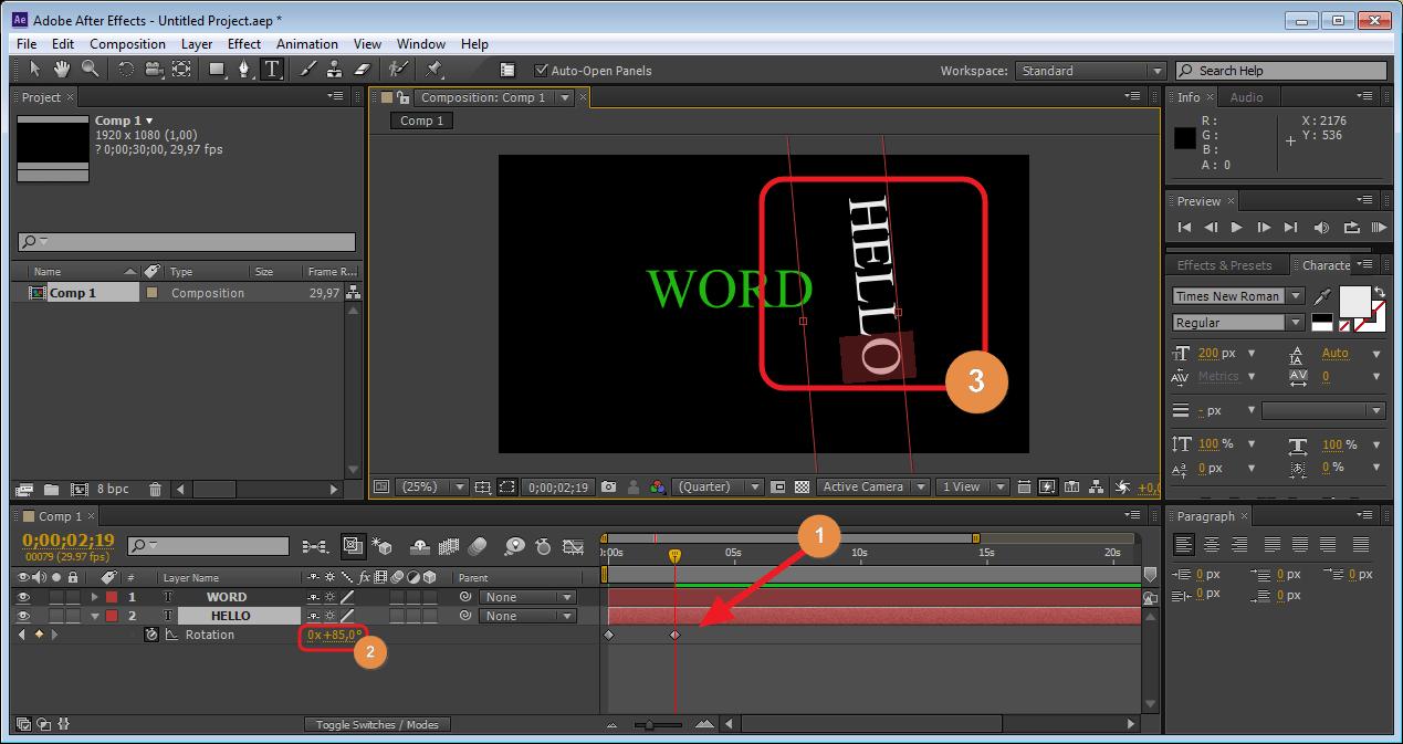 Передвигаем ползунок Тайм Лайн для изменения позиции в Adobe After Effects