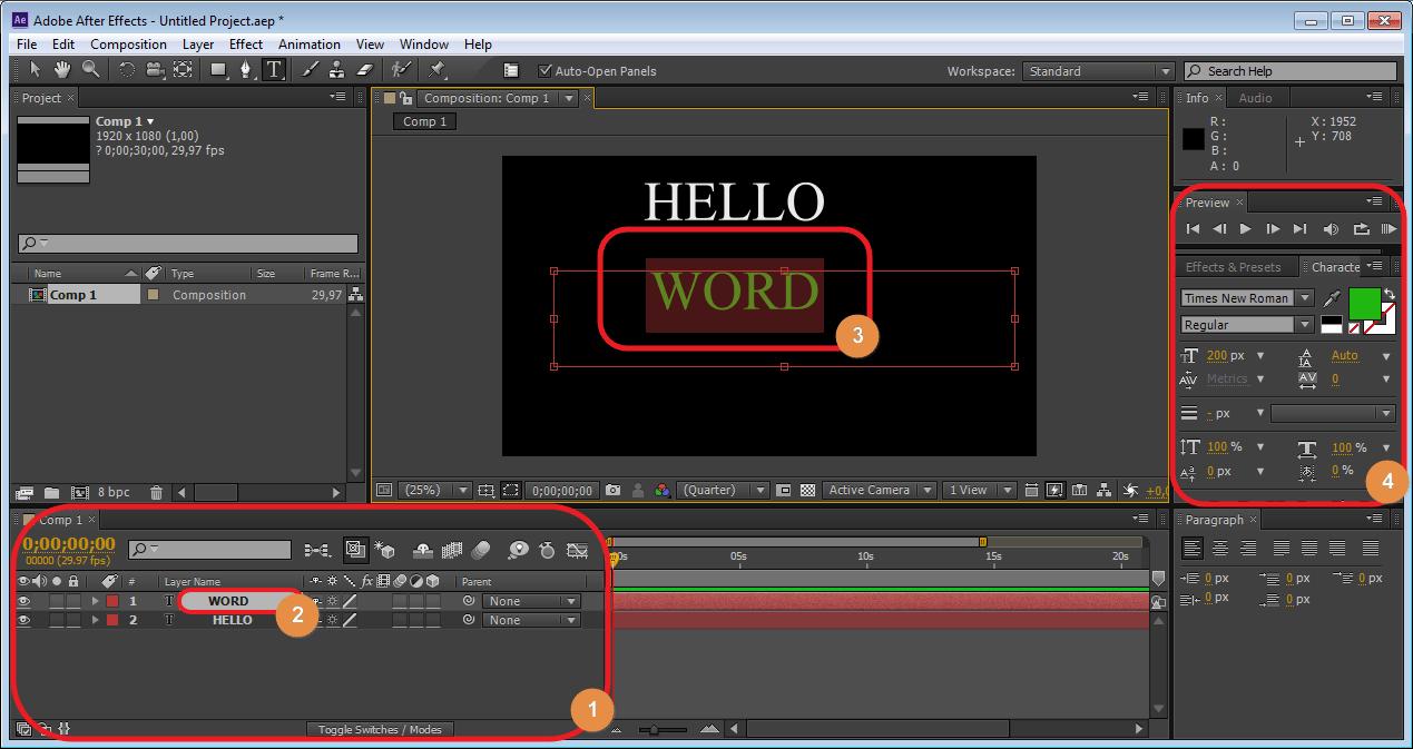 Работа с панелью слоев Adobe After Effects.
