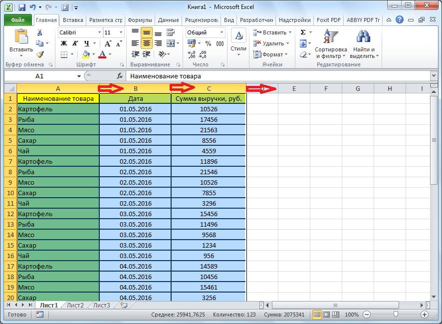 Расширение столбцов таблицы в Microsoft Excel