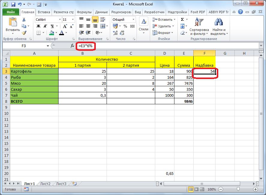 Результат умножения числа на процент в программе Microsoft Excel в таблице
