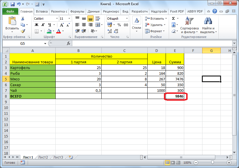 Результат в Microsoft Excel