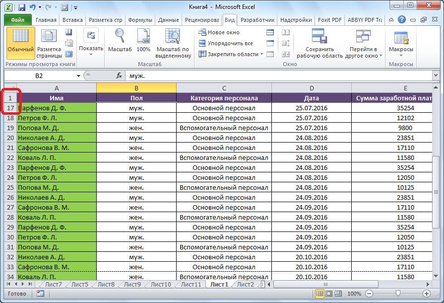 Шапка закреплена в программе Microsoft Excel