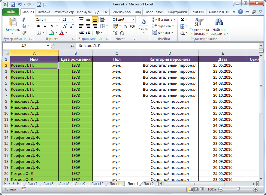 Сортировка от А до Я в Microsoft Excel выполнена