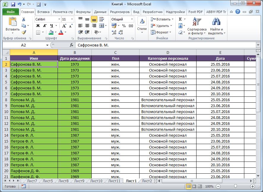 Сортировка от Я до А в Microsoft Excel выполнена