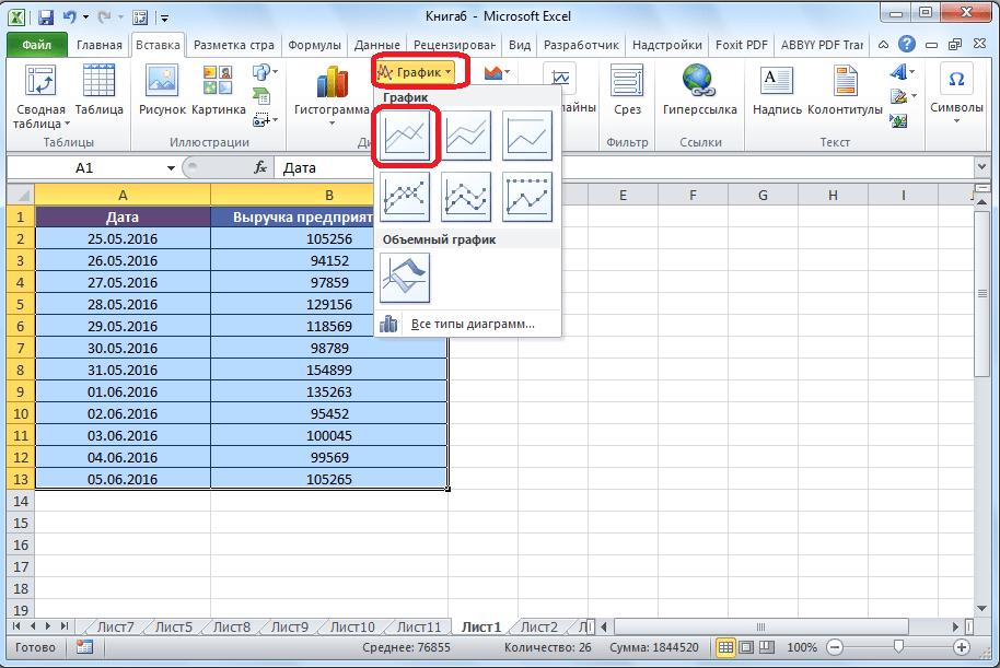 Создание графика в Microsoft Excel
