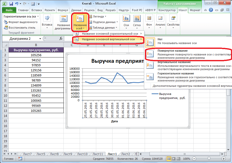 Создание наименование       оси в Microsoft Excel