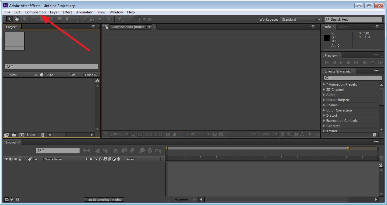 Создание новой композиции в Adobe After Effects