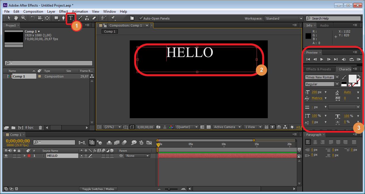 Создание новой надписи в Adobe After Effects