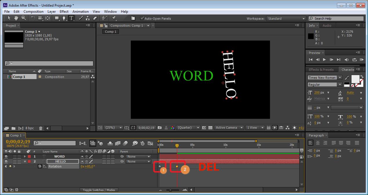 Удаление меток анимации в Adobe After Effects