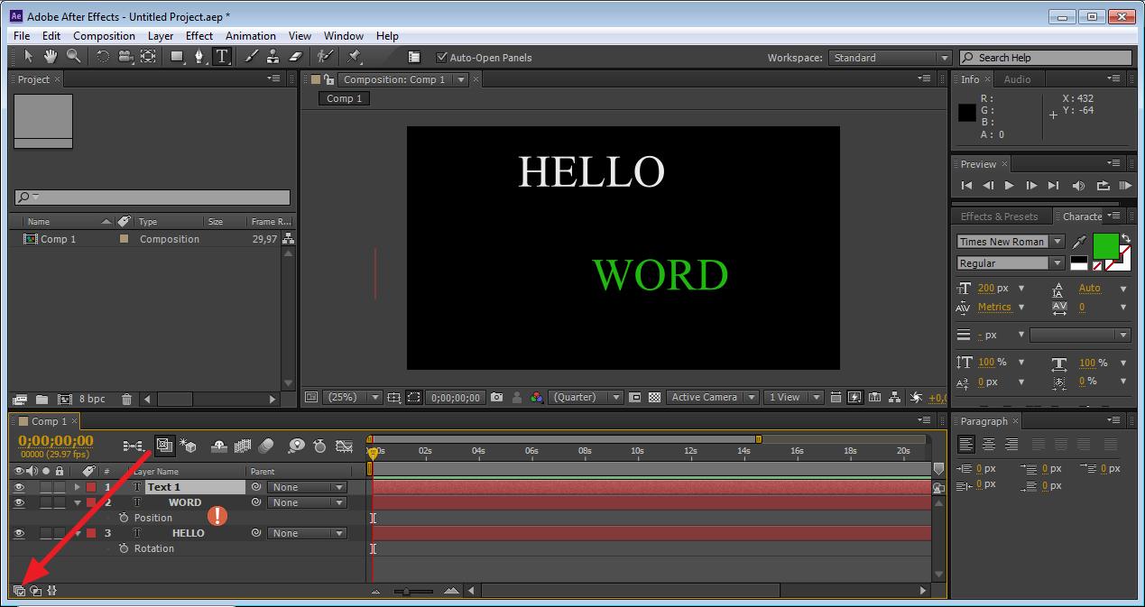 Включить числовые значения эффектов в Adobe After Effects