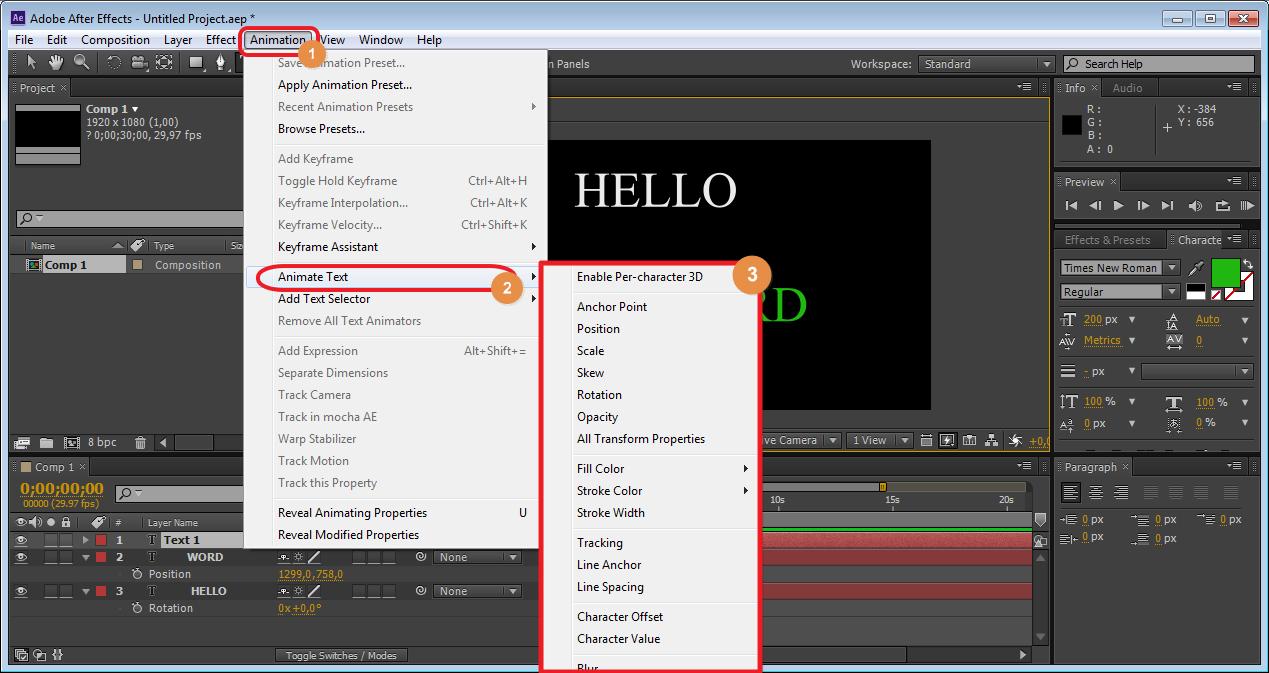 Все эффекты для анимаций в Adobe After Effects