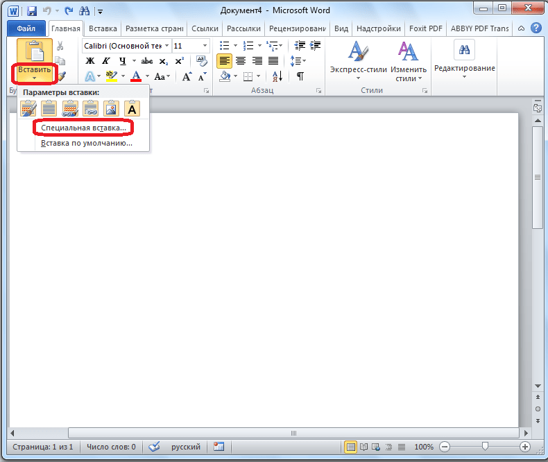Вызов специальной вставки в  Microsoft Word