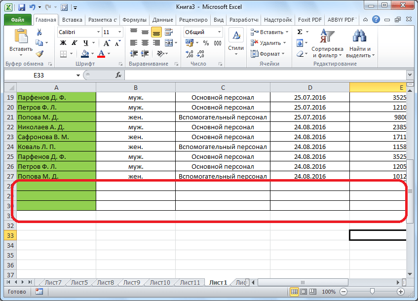 Ячейки очищены в Microsoft Excel