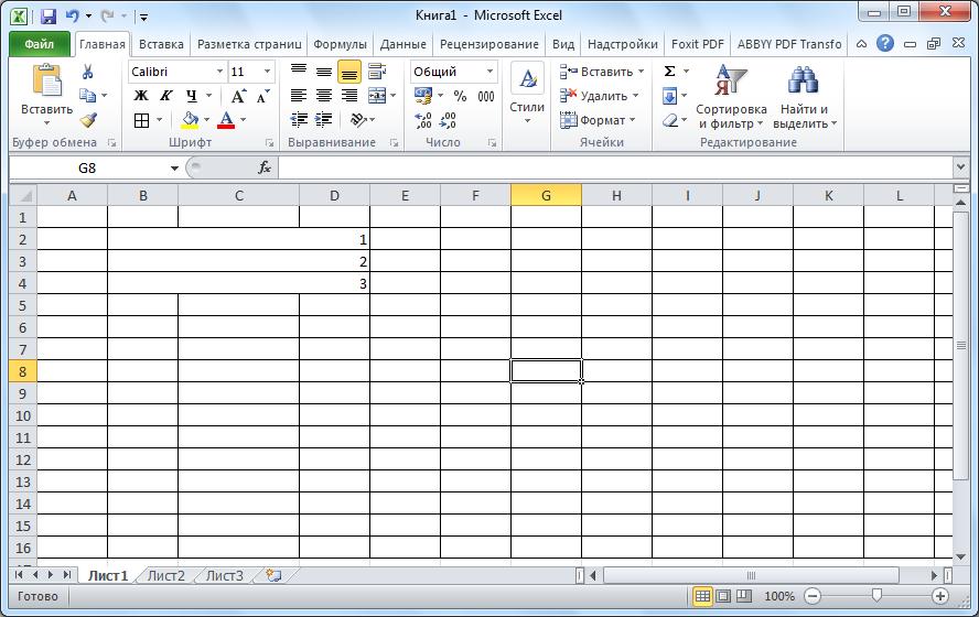 Ячейки в Microsoft Excel объеденены по строкам