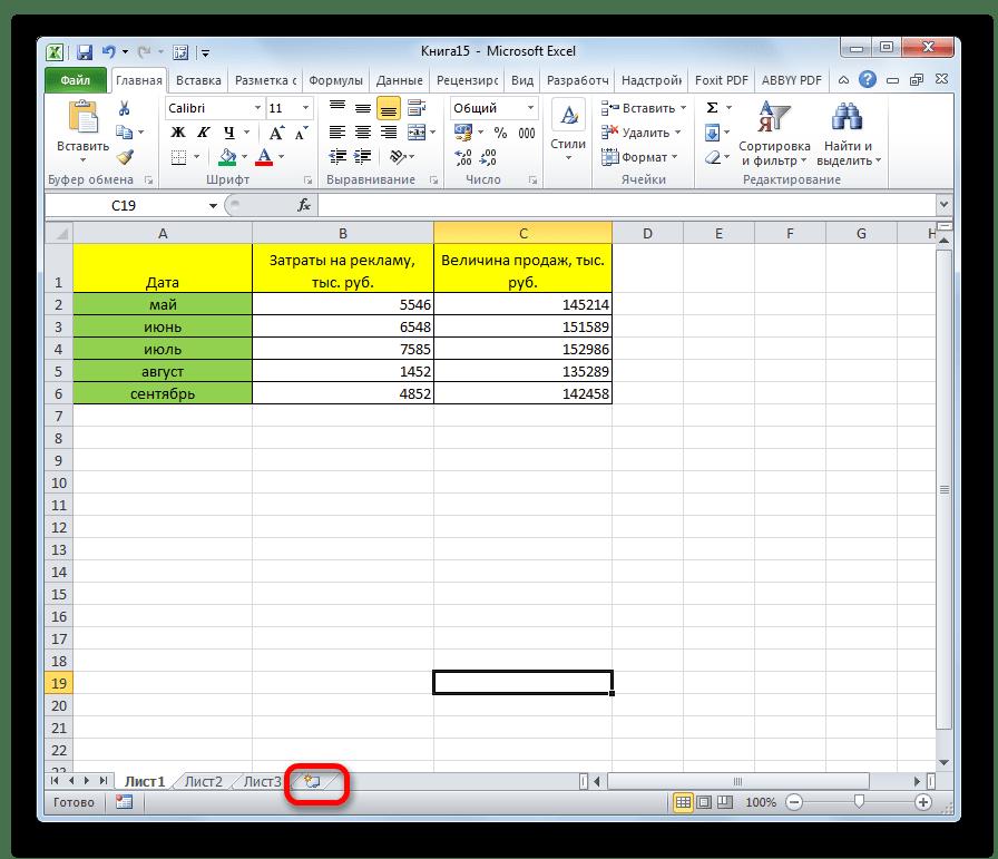 Добавление нового листа в Microsoft Excel
