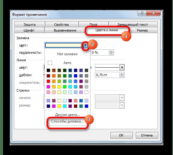 Формат примечания в Microsoft Excel