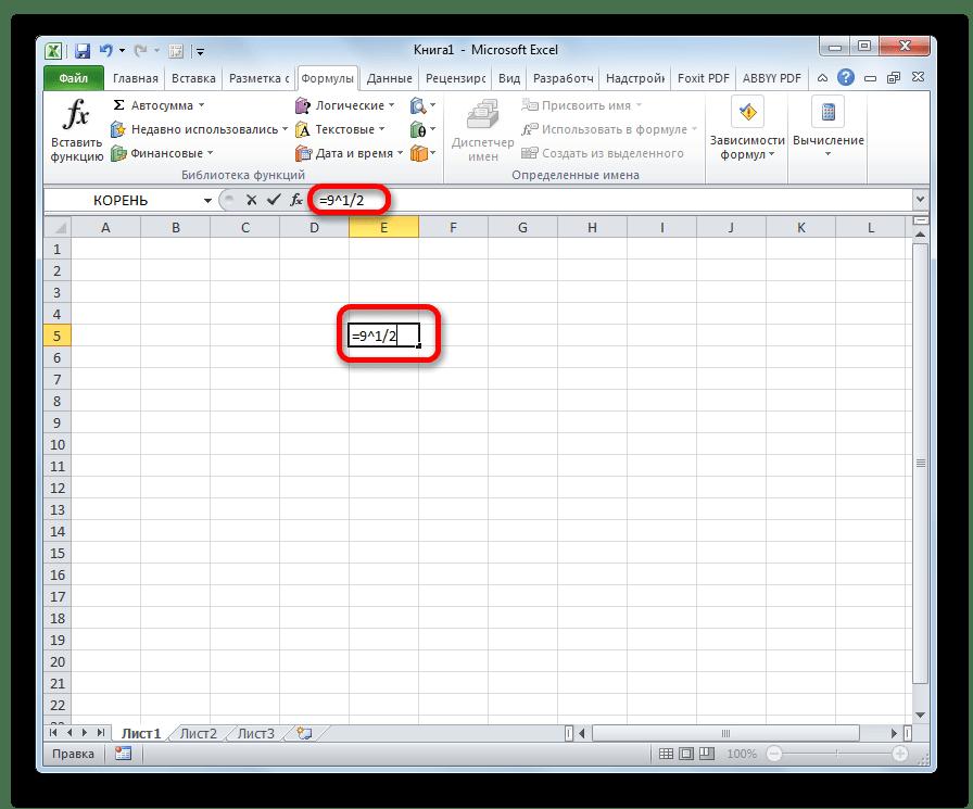 Извлечение квадратного корня в Microsoft Excel
