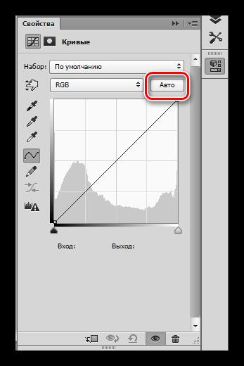 Кнопка автоматической настройки Кривых в Фотошопе