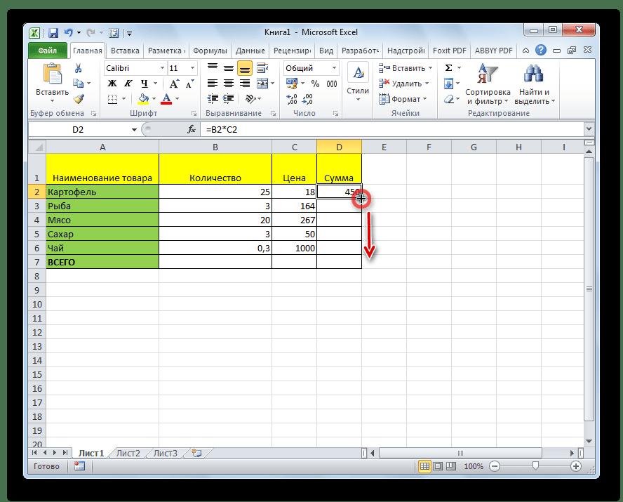 Копирование формулы другие ячейки в Microsoft Excel