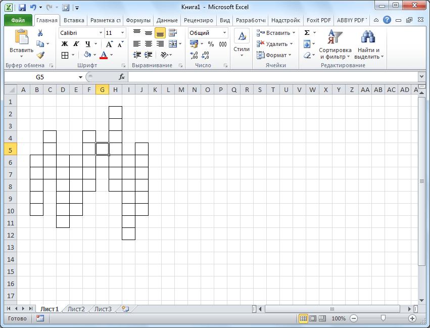 Кроссворд нарисован в Microsoft Excel
